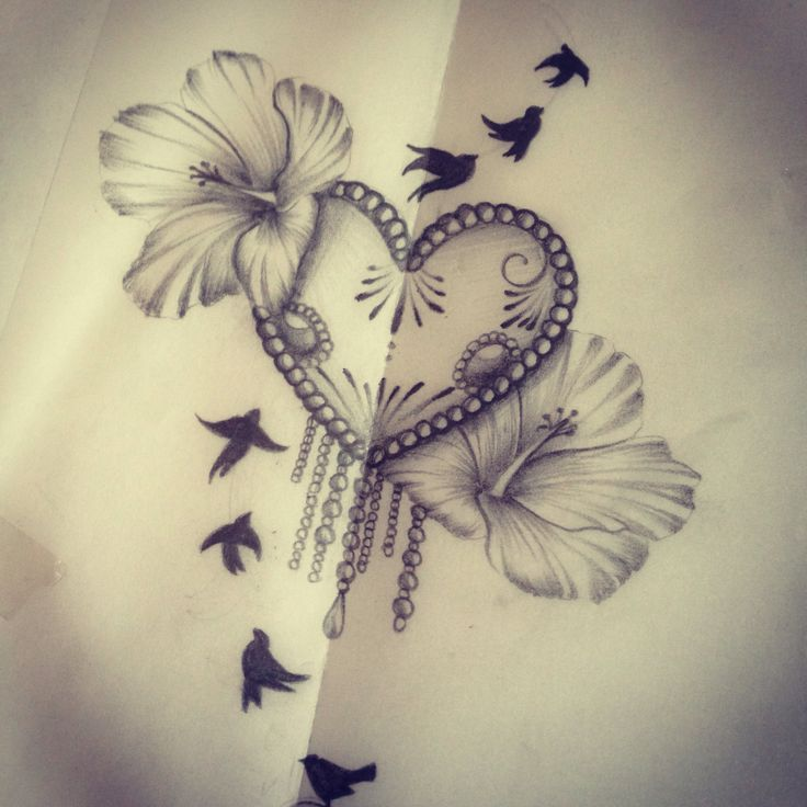 33 best drawings images on pinterest for Hibiscus flower tattoo sketches