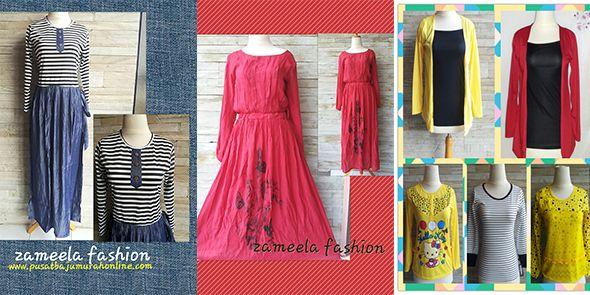 Baju wanita atasan dan gamis salur terbuat dari bahan denim