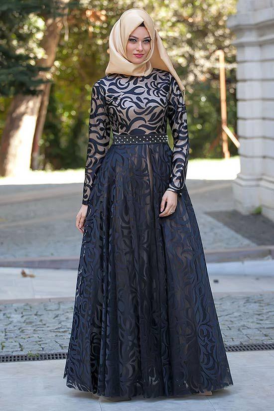 Puane-siyah-elbise   Tesettürlü Gelinlikler ve Gelinlik Modelleri