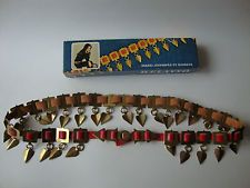 Finnish Red Leather & Brass Dangles Folk Style Belt Helavyo Original Box Finland