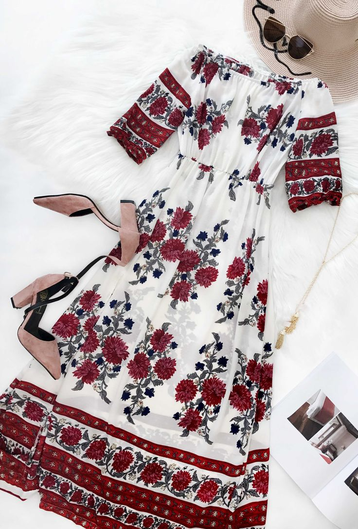 $33.99 Chicnico Fashion Bateau Off Shoulder Floral Print Dress