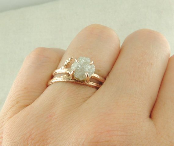 Uncut Diamond 14k Rose Gold Engagement Ring by PointNoPointStudio