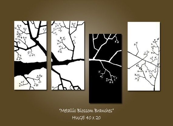 CUSTOM Metallic Blossom Branches - 40 x 20, Acrylic Art PAINTING, gallery wrapped ready to hang, ORIGINAL, Earthy Nature Tree Painting on Etsy, $225.00