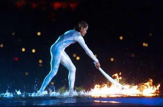 Cathy Freeman ignites the Olympic flame during the opening ceremony of the 2000 Sydney Olympics. She later won the 400m final, becoming the first Aboriginal to win an Olympic gold medal.