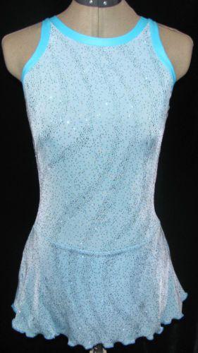 Turquois Light Blue Ice Figure Skating Dress Girls Large 12 14 | eBay