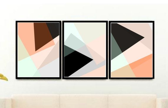 Download €16 Set van 3 Prints geometrische kunst wordt door honeytreeprints