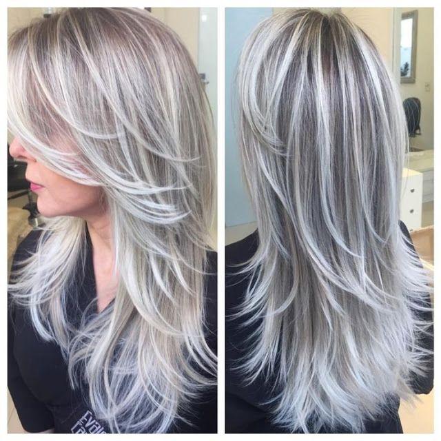 Verf je lange haar in een van deze grijstinten! Bekijk deze 12 prachtige lange kapsels.. - Kapsels voor haar