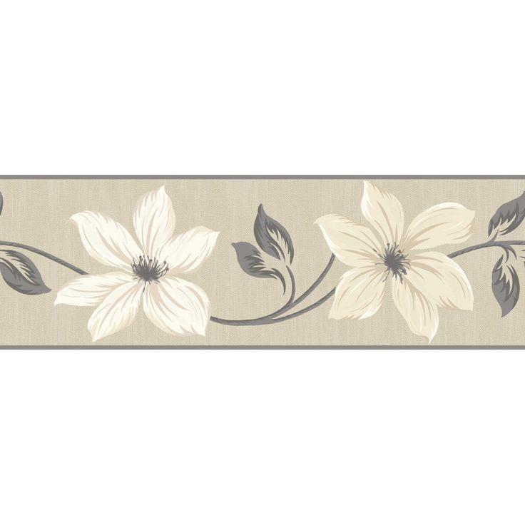 Gray And Cream Wallpaper Border Fine Decor Lily Floral