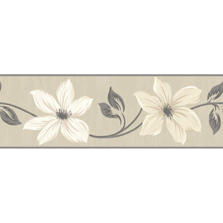 Gray and cream wallpaper border fine decor lily floral for Grey and cream wallpaper