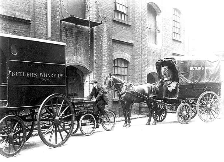 Historic | Black | White Photograph | Butlers Wharf | Delivery Carts | 1873 | Warehouse Complex | Thames | Vintage Industrial Photography