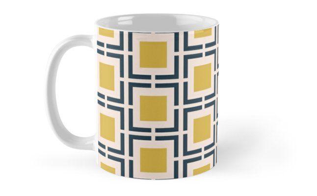 Orange and White Lines Geometric Patterned Mug Tea Coffee Cup