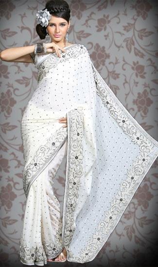 white indian wedding sari