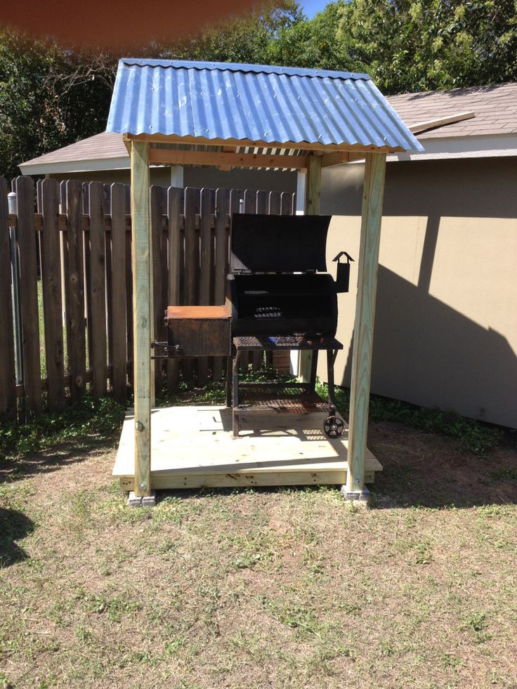 Diy Metal Covered Shelters : Check out this diy bbq pit cover made by eric gentry in