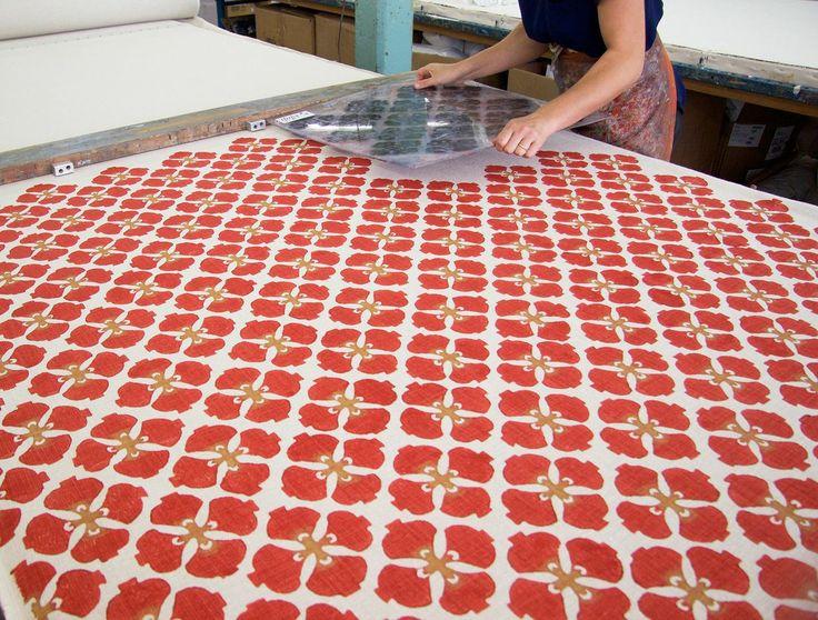 Galbraith & Paul -- Hand printing yardage via Heath Ceramics