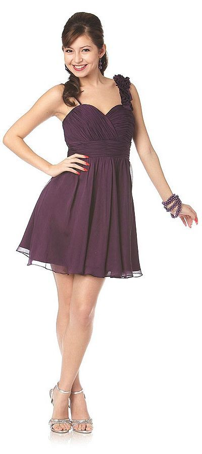 Short Purple Bridesmaid Dress Chiffon Flower Strap Above Knee Shirred (3 Colors Available)