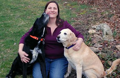 Dr. Rosemary Riley with Labrador Retrievers Hamish and Georgia #AnimalHospital #Veterinarian #Pets #KAH #Vet #FrederickMaryland #KingsbrookVets #KAHDoctors