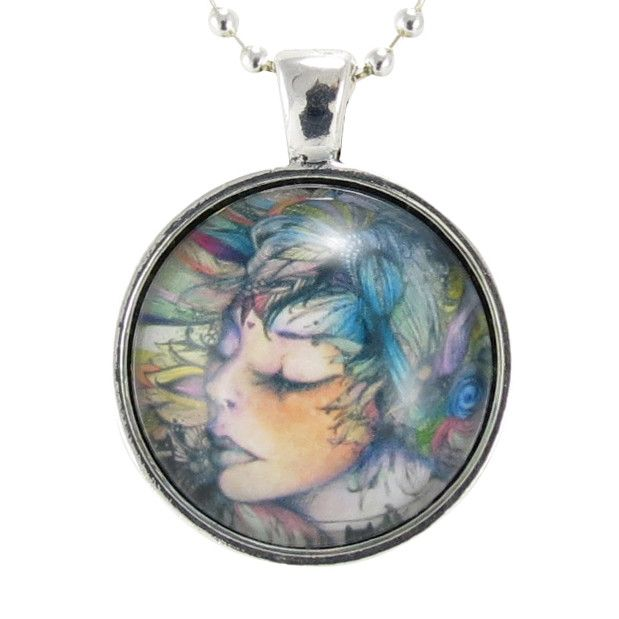 Woman Cameo Original Artwork Necklace Pendant, Art Pendant