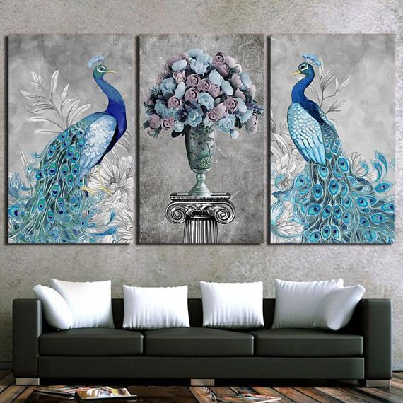 Peacock Canvas Art Peacock Wall Art Peacock Wall Decor #affiliate