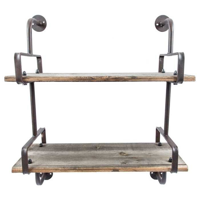 Rusty Industrial Shelf with Wood Planks