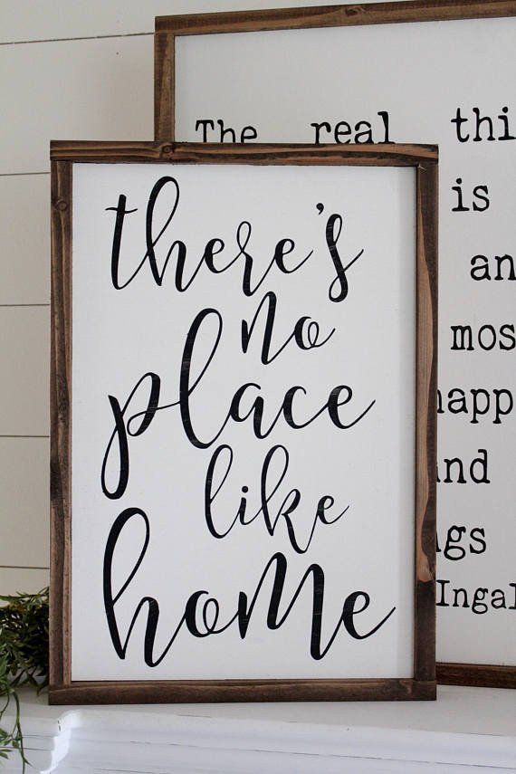 """Approximately 13""""x20"""" Each sign is handcrafted from a painted wood backing, framed with hand-sanded and stained trim. Each sign is unique and features imperfect"""