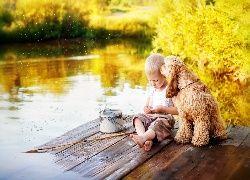 Chłopiec, Pies, Łowienie, Ryb, Wędka Rzeka, Drzewa
