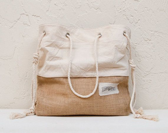 Canvas Beach Bag Large Tote Bag Shopper Tote Purse Canvas Tote Striped White on Etsy, $68.00