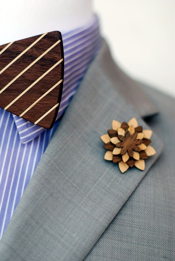 Walnut And Maple Lapel Pin  Wood Lapel Pin  Mens by VenutoWoodWork