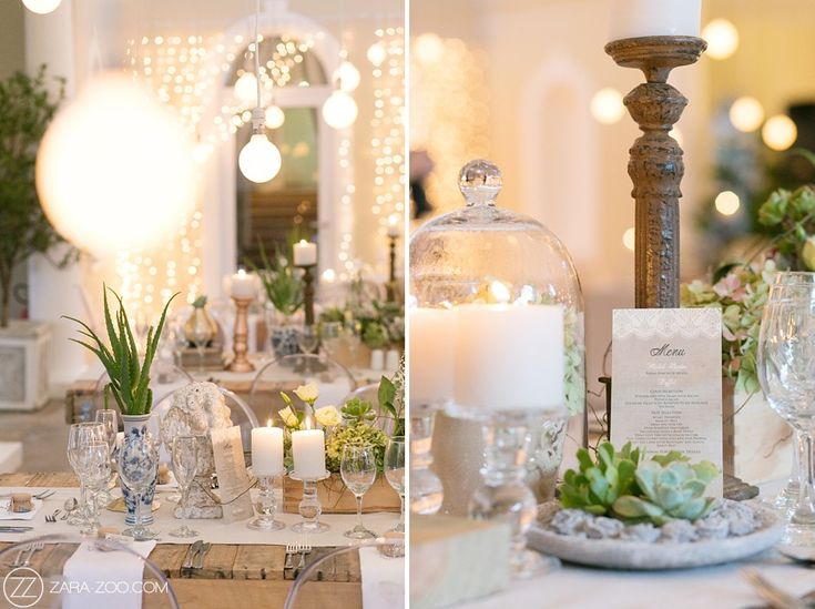 Rustic wedding reception table decor. Raw wood tables, ghost chairs, succulents and rose gold finishes.