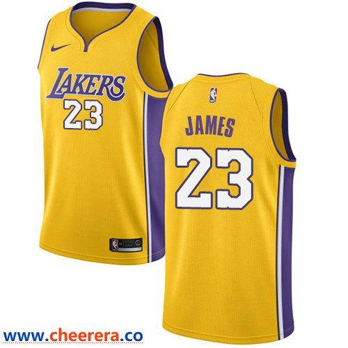 Men's Nike Los Angeles Lakers #23 LeBron James Gold NBA Swingman ...