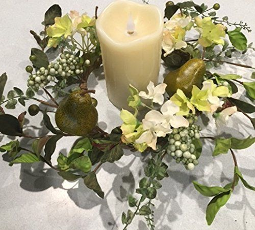 Sir Bartlett Floral Wreath Candle Ring Artificial Green Pears Silk Hydrangea Seasonal Decor Spring Summer Fall Indoor Decorating ** More info could be found at the image url. Note:It is Affiliate Link to Amazon.