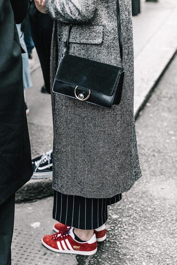 London Fashion week street style adidas gazelle chloe purse long grey coat
