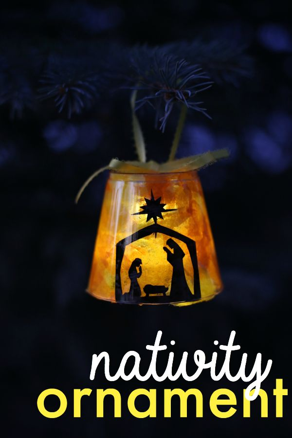 Plastic cup + LED tea light = this adorable DIY nativity Christmas ornament