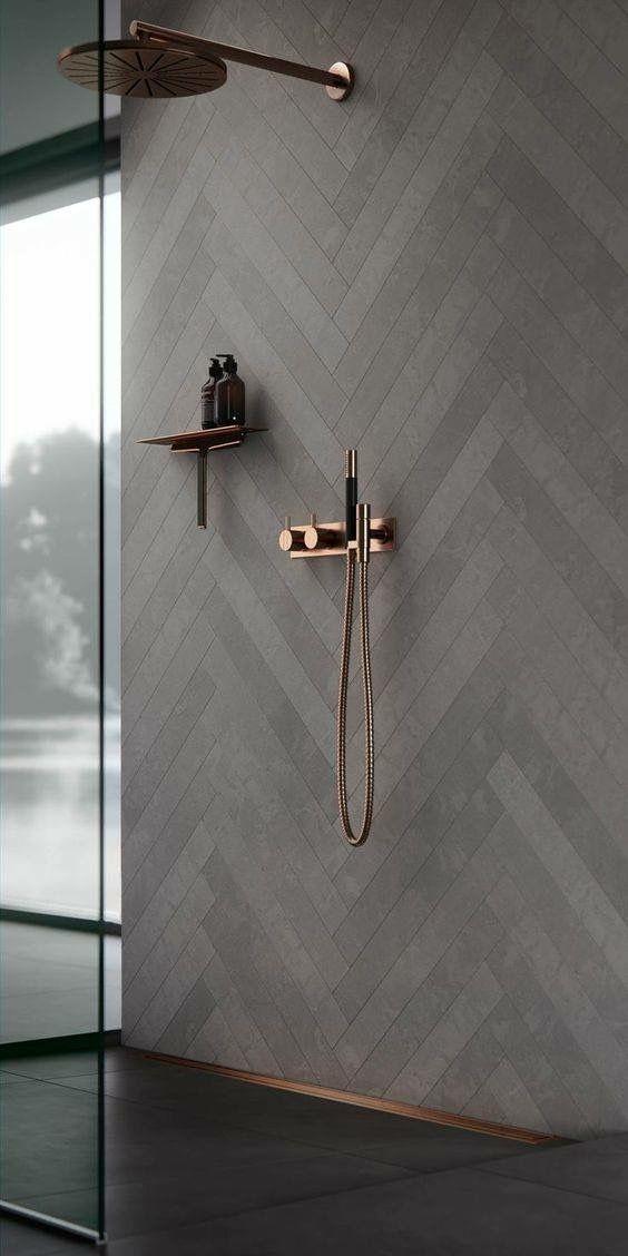 Badezimmer dunkel Beton Gold Rose Kupfer