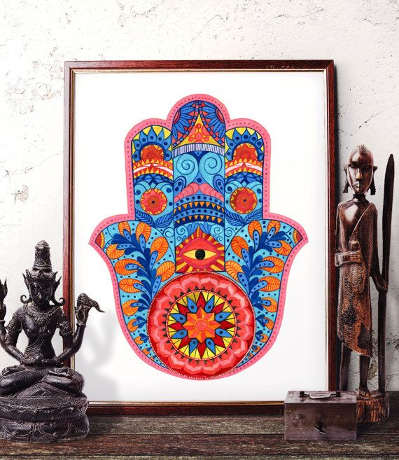 Hamsa Hand Watercolor Print, Hand of Fatima Home Decor, Indian Hamsa Hand Ethnic Wall Art, Protective Hand Art Prints and Original Painting by HermesArts