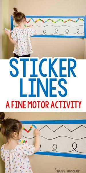 Aufkleber Linien: Feinmotorik; schnelle und einfache Aktivität für Kleinkinder; Punktaufkleber