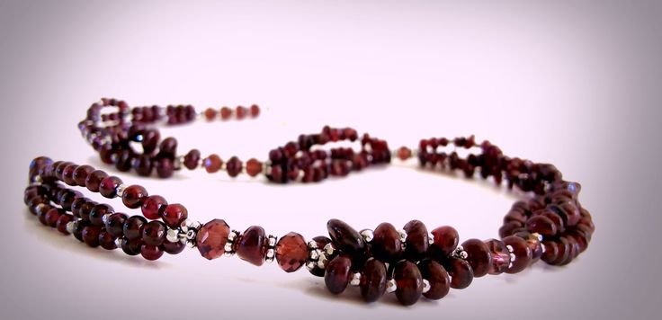 Garnet Necklace, Multi strand Necklace, Bridal Valentine's Mother's Day Unique Gift Ideas, Designer Trends, Charm Necklace, Garnet Jewelry. by GECHELINE on Etsy