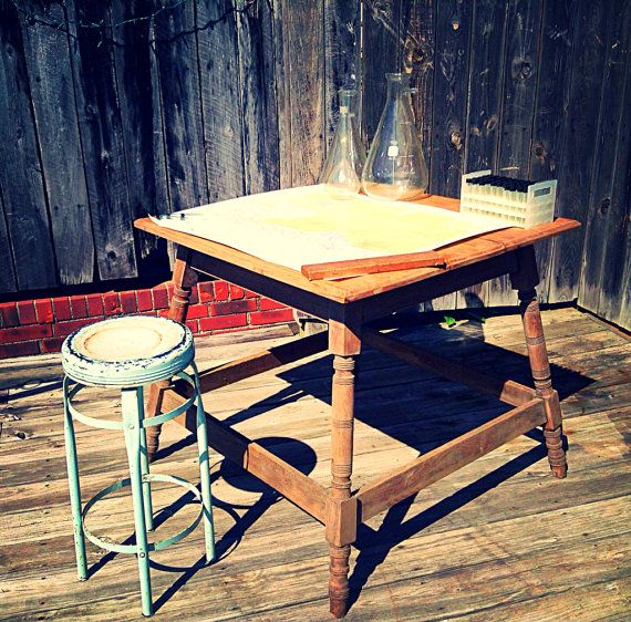 Antique Primitive Handmade Farm Table or Kitchen Island with Locking/Hinged Top