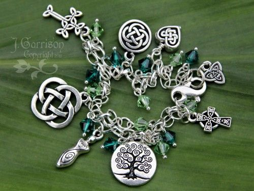 Celtic Knots Silver Charm bracelet w/ emerald & peridot green crystals | NightOwlJewelry - Jewelry on ArtFire