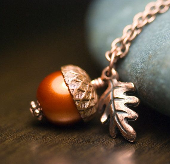 Pumpkin Glass Pearl Acorn Oak Leaf Necklace. Perfect for fall.