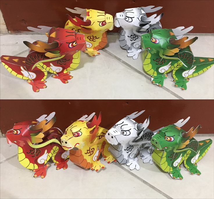 Paper Chinese Dragon. The Ruby, Gold, Jade and Pearl