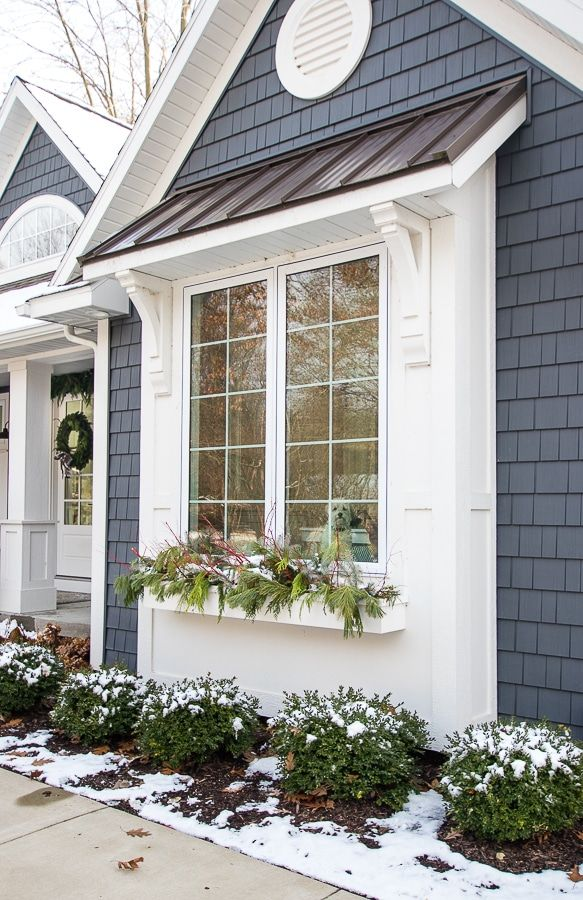 Gray And White Christmas Front Porch Cottage House Exterior
