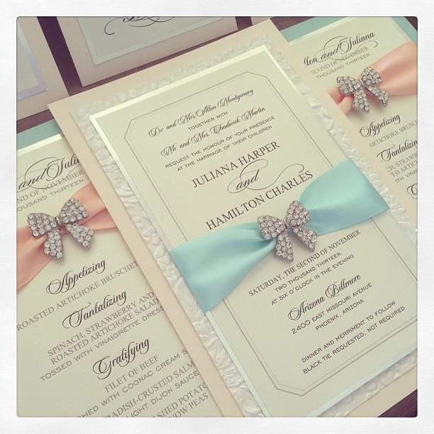 Peach And Tiffany Blue Wedding Invitation With Bow Bling   From The Event  Essentials