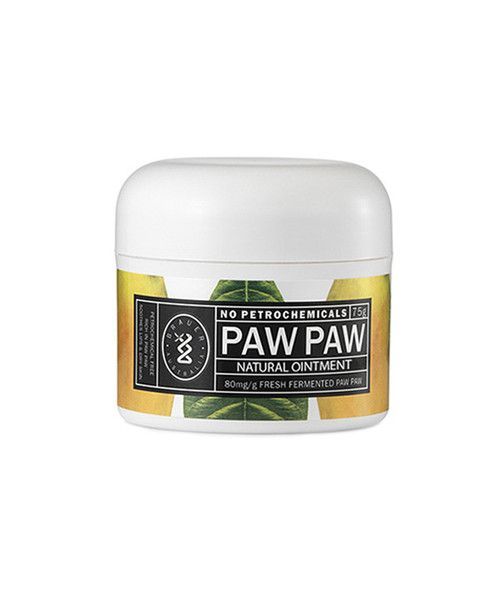 Paw Paw 75g Tub- Paw Paw Ointment's natural formula is rich in Paw Paw with the added nourishment of Shea Butter,  Honey, Vitamin E and Grapeseed Oil to leave skin and lips feeling luxuriously soft. The petrochemical-free formula nourishes, soothes and protects dry, cracked skin and moisturises chapped lips. Its also great for soothing and softening baby's bottom and dry skin. The 75 g tub is ideal for your bedside table, bathroom counter, the nursery and nappy bag.