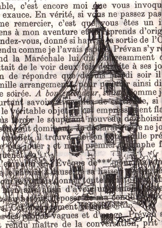 """Original ACEO drawing on vintage book page - Chateau Series - The Little House - by Castle on the Hill, Etsy  Inspiration for """"house"""" of God over bible verses or christian book page"""