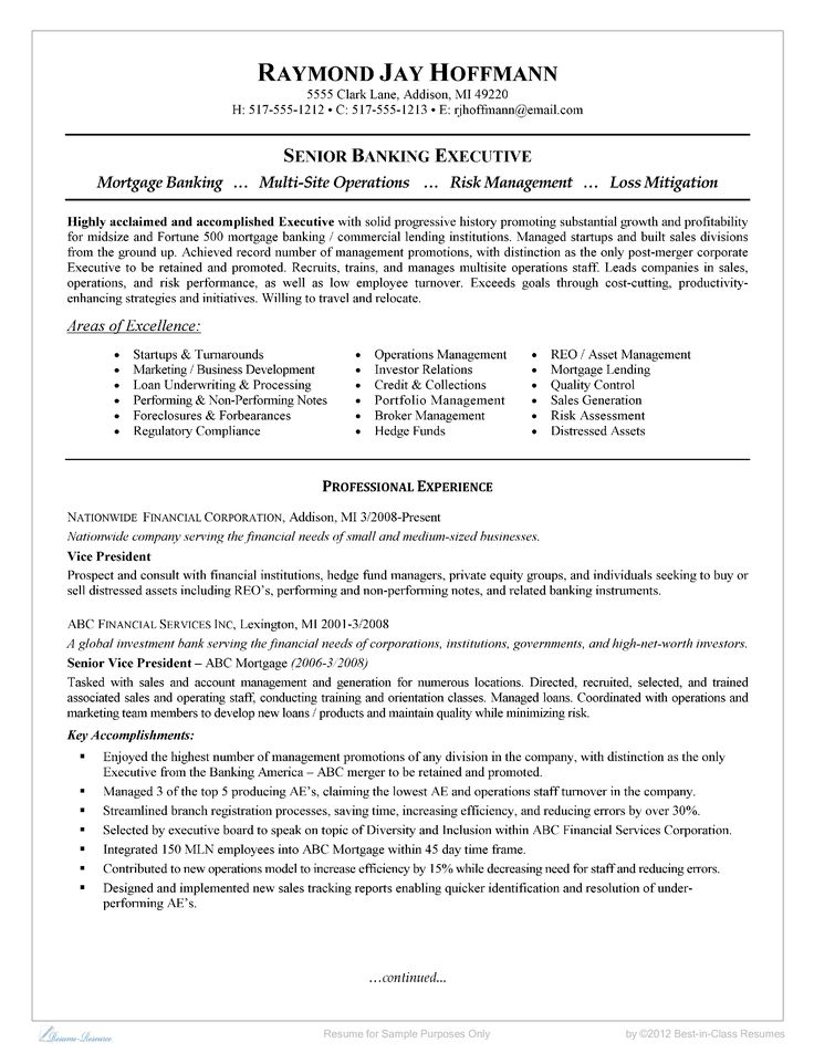 Senior Banking Executive Resume - How to grab your futures employers' attention when you are applying for a job? Download this Resume Examples from Business template now!