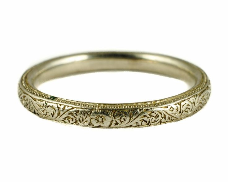 STUNNING ENGLISH ANTIQUE ART DECO PLATINUM WEDDING BAND RING FINE ENGRAVING #Band