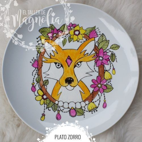 Plato vintage con zorro y flores