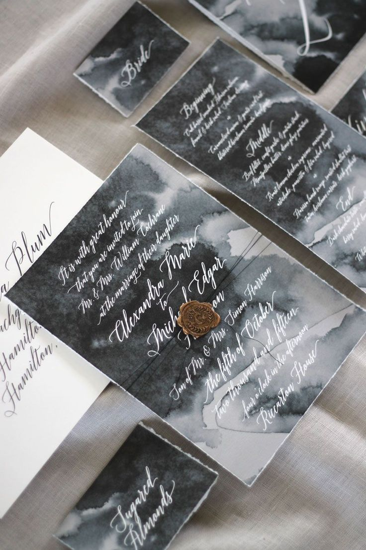 Just My Type Wedding Invitation and Wedding Stationery Design NZ. Dark and moody watercolour with calligraphy and gold wax seal