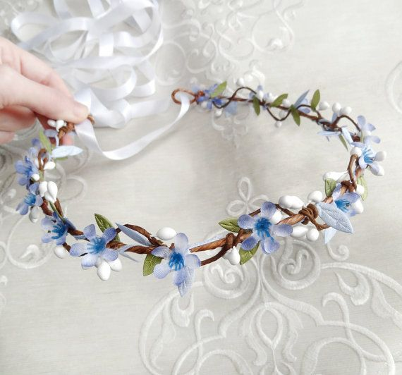 Corona di fiori blu fascia blu ragazza di fiore di thehoneycomb