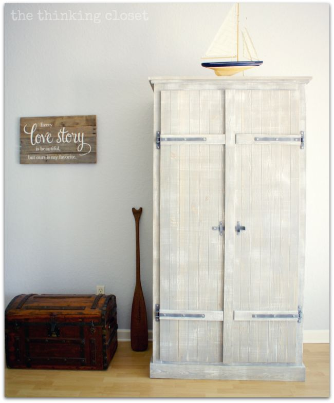 IKEA Hack: Whitewashed Fjell Wardrobe with Pallet Shelves